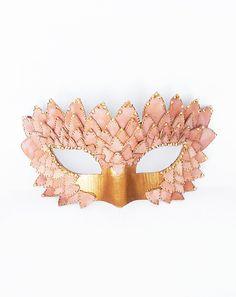 Pink & Gold Masquerade Mask - Embellished Venetian Mask