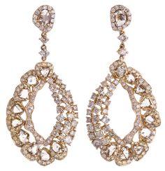 L' Dezen Jewellery Naya Rose Gold Slice Diamond & White Diamond Earrings