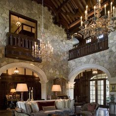 Stone and wood living.