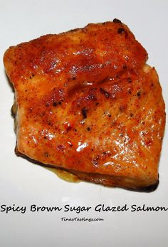 Spicy Brown Sugar Glazed Salmon - Tina's Tastings - Spicy Brown Sugar Glazed Salmon – Powered by WP Ultimate Recipe Das schönste Bild für rice reci - Oven Baked Salmon, Spicy Salmon, Baked Salmon Recipes, Fish Recipes, Seafood Recipes, Sweet Recipes, Salmon Dishes, Seafood Dishes, Healthy Grilling Recipes