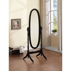 Wooden Cheval Floor Mirror, Black Finish Cheval Mirror, Standing Mirror, Mirrors Wayfair, Beautiful Mirrors, Coaster Furniture, Floor Mirror, Black Mirror, Beveled Glass, Home Decor Outlet
