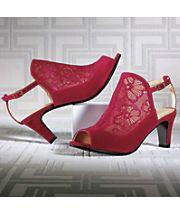 lace open toe shootie by midnight velvet