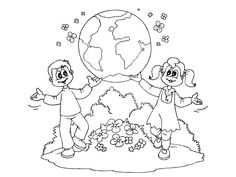 Earth Day Coloring Pages - Preschool and Kindergarten Earth Day Coloring Pages, Cool Coloring Pages, Printable Coloring Pages, Coloring Sheets, World Days, Earth Color, Kindergarten, Preschool, Creative