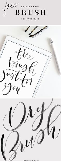 A free calligraphy digital brush for Procreate! - Saffron Avenue : Digital Calligraphy, Procreate App, calligraphy brush, free download, apple pencil calligraphy, lettering, free brush, modern calligraphy