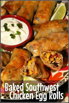 These crunchy eggrolls are a copycat version of Chili's popular appetizer. This recipe is baked instead of fried and filled with flavorful southwest ingredients you are going to love! Delicious Dinner Recipes, Appetizer Recipes, Delicious Food, Snack Recipes, Chicken Egg Rolls, Popular Appetizers, Southwest Chicken, Family Meals, Chicken Recipes