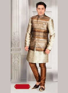 An charmingly styled Beige Color Jacquard Fabric Mens Ethnic Indo Western Style that is excellent for all ethnic events. Wedding Outfits For Groom, Indian Wedding Outfits, Wedding Men, Menswear Wedding, Wedding Groom, Farm Wedding, Wedding Couples, Boho Wedding, Wedding Reception