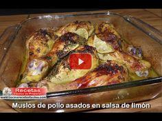 Muslos de pollo asados en salsa de limón (Vídeo)   Recetas fáciles