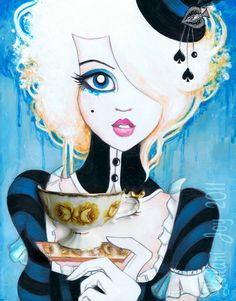 I generally don't like anything other than drawing styles/ paintings, but this incorporation caught my eye. (Alice In Wonderland 8x10 Fine Art Print. $18.00, via Etsy.)