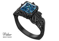 Flower Engagement Ring,Unique Engagement Ring,Black Gold Solitaire Ring By Vidar Botique,Blue Topaz Engagement Ring,Vintage Ring,Floral Ring