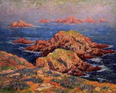 """""""The Red Rocks at Ouessant"""",                                                      .                                                                                                                                                   by Henri Moret,  Bretagne"""