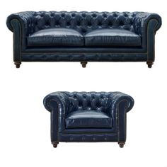 This blue chesterfield sofa and armchair set has all the quality and elegance you've been looking for.This sofa and chair is complete with a feather down cushion blend, and features 8 way hand tied construction, which is the highest quality for furniture.