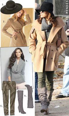 Eva Mendes Camel Coat and Grey Boots