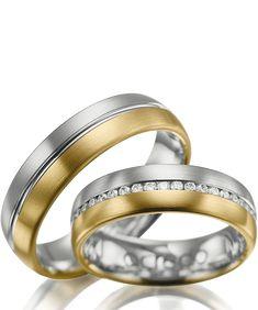 22bde6abee41 Alianzas de matrimonio en oro blanco con oro amarillo con diamantes   alianzas  boda  anillos  oroblanco  platino