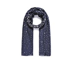 LADIES NAVY BLUE WITH  GREY POLKA DOT SPOTTED PRINT SCARF WRAP