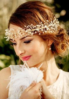 WEDDING HEADBAND Grecian style headband  Bridal floral crown MELINA, crystals, 14K gold plated leaves, made to order