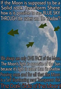 I have always felt that the moon produces it's own light. It is not solar light reflecting off of it. Flat Earth Conspiracy, Conspiracy Theories, Terre Plate, Flat Earth Movement, Flat Earth Proof, Nasa Lies, Nasa Space Program, Moon Landing, Creepy