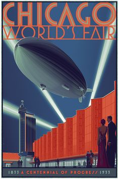 The Zeppelin – by artist Laurent Durieux, Regular version: x 12 colour screen print. Edition Size: 330 (not a movie poster obviously has to go in here with rest of the prints I have of Laurent Duriex) Art Nouveau, Laurent Durieux, Chicago Art, Chicago Illinois, Art Deco Illustration, Rock Posters, Movie Posters, World's Fair, Art Deco Design
