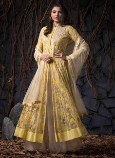Yellow Net Indo Western Anarkali Suit 59892