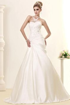 Gorgeous Empire Halter Satin Chapel Train Wedding Dress