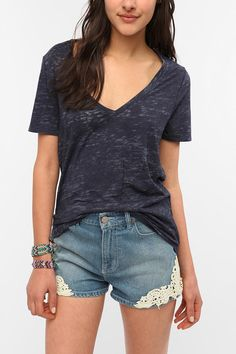 BDG Sheer Burnout V-Neck Tee - urban outfitters $18