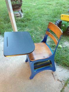Old School Charm :: Hometalk Painted School Desks, School Desk Makeover, Old School Desks, Old Desks, School Tables, Lego Bedroom, Childs Bedroom, Student Desks, Boy Decor
