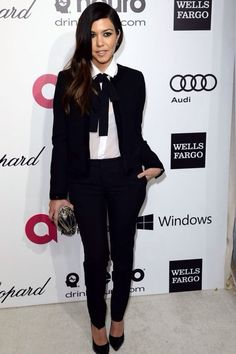 Dress: smoking pants fitted trousers tuxedo pants black waterfall blazer white shirt neck tie