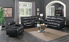 2 pc Bomberger willemse black leatherette reclining sofa and love seat with recliner ends. This set includes the sofa and love seat set with recliners on each end. Sofa measures x x H. Love seat measures x x H. Leather Sofa And Loveseat, Sofa And Loveseat Set, Futon Sofa, Coaster Furniture, Fine Furniture, Living Room Furniture, Furniture Sets, Living Room Essentials, Living Room Sets