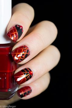 Striping Tape Nail Art. http://www.blingfinger.net/2014/10/striping-tape-nail-art.html