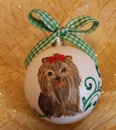 Yorkie - white christmas ball with green ornament
