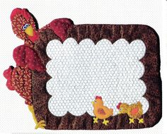 imagine this as a mug rug, lots of chicken patterns out there, do in the chalkboard fabric so you could write a message, I LOVE it--db