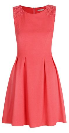 Coral Lace Appliqué Tasha Skater Dress