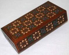 #Wooden #Box with carved and painted #Flowers. This Box is made from Linden wood by skilled artisans. The detail in the carving of the flowers is quite lovely. Great for mementos, jewelry, etc. Would make a wonderful gift.