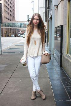 Sam Edelman Petty booties, cream sweater, white jeans