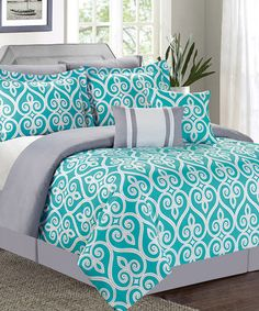 Another great find on #zulily! Teal Hamilton Comforter Set #zulilyfinds