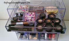 The Frugal Closet: Alternative Acrylic Clear Cube Makeup Organizer - I must do this and get organized!