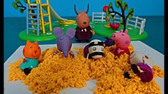 Peppa Pig in English. Peppa at school making sand tower. Peppa Pig and h...