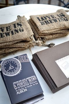 Coffee-Themed invites...i LOVE this...i could get some burlap and probably make the bags pretty easily and paint on letters with a stencil