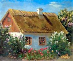 "Painting of a cottage by Grand Duchess Olga Alexandrovna Romanova of Russia.  ""AL"""