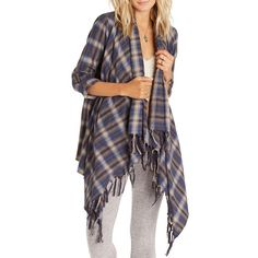 Women's Billabong 'Liv It Up' Open Flannel Cardigan ($55) ❤ liked on Polyvore featuring tops, cardigans, brown, fringe shirts, open front cardigan, billabong shirts, cardigan shirt and flannel shirts