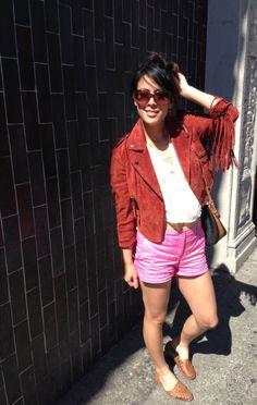 fringe leather jacket and hot pink shorts