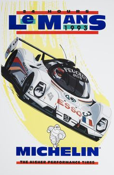Le Mans Racing Michelin poster ,by © Dennis Simon. This poster is available at centuryofspeed.com