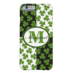 This unique iPhone 6 case features green shamrocks over alternating black and white rectangles and topped with a white oval trimmed in green and black. The name and initial can be customized as you wish or you can remove them and add your own text. You can remove the black and white rectangles to reveal a solid black background for a different look.