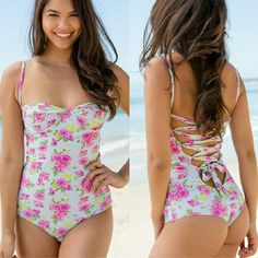 New tori praver california onepiece casablanca ros New with tag & hygienic protection strip California corset back one-piece full suit in casablanca fose floral print by tori praver swimwear. Small. Beautiful fullpiece swimsuit green & pink roses pattern. This full-piece features underwire cups and adjustable shoulder straos that lace down & tie at lower back. No trade please. The price is firm Tori Praver  Swim One Pieces