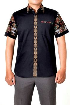 SALE DENIM BATIK African Shirts For Men, African Dresses Men, African Clothing For Men, Latest African Fashion Dresses, African Men Fashion, African Attire, African Wear, Costume Africain, African Print Shirt