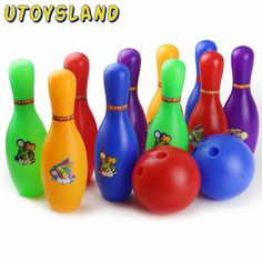UTOYSLAND Colorful Cartoon Standard Bowling Set 10 Pins, 2 Bowling Balls Children Kids Educational Toys Indoor Outdoor Sport