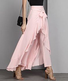 Pants —— Reborn Collection Pink Chiffon High-Waist Ruffle Pants - Women & Plus Diva Fashion, Womens Fashion, Ruffle Pants, Pants For Women, Clothes For Women, Retro Outfits, Spring Summer Fashion, Dress Outfits, High Waisted Skirt