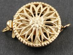 Gold Filled Round Filigree Clasp with 1 Ring1 Piece by Beadspoint, $10.15