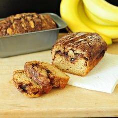 Skinny Nutella Cinnamon Swirl Bread - Why make banana bread when you can have nutella cinnamon swirl banana bread? And it's healthy too!!