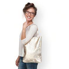 Gold leather handbag leather tote bag gold women by LeahLerner