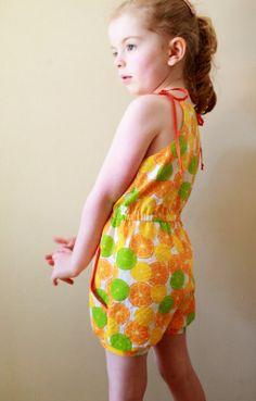 Citrus Retro Romper from E&E Patterns Pleated Playsuit | The Inspired Wren